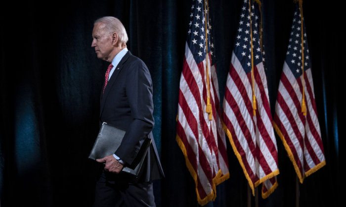 Former Vice President Joe Biden leaves the lectern after delivering remarks about the COVID-19 outbreak, in Wilmington, Delaware, on March 12, 2020.  (Drew Angerer/Getty Images)