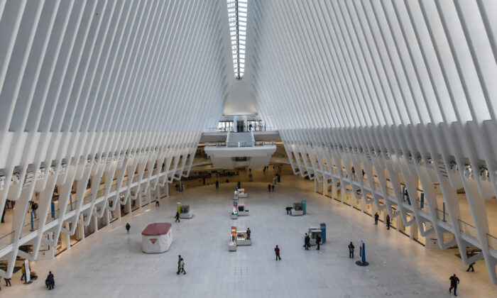 The Oculus transportation hub in Lower Manhattan is mostly devoid of commuters and tourists in New York City on March 15, 2020. (Stephanie Keith/Getty Images)