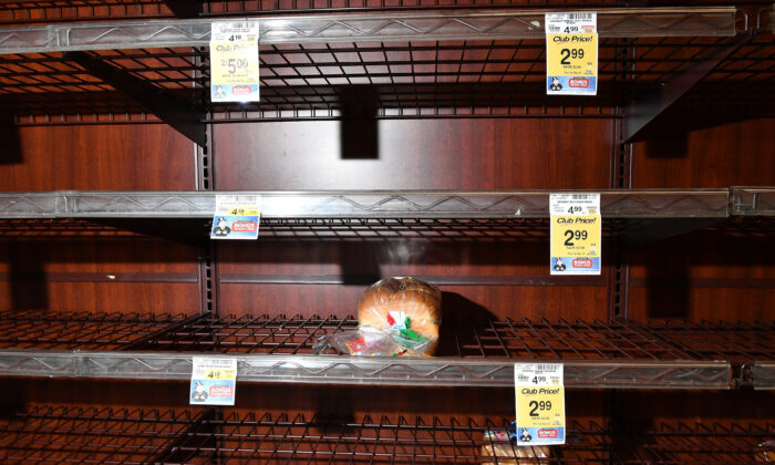 Empty shelves at a Vons supermarket in Burbank, California as the coronavirus continues to spread across the United States on March 14, 2020. (Amy Sussman/Getty Images)