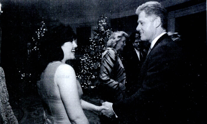 A photograph showing former White House intern Monica Lewinsky meeting President Bill Clinton at a White House function submitted as evidence in documents by the Starr investigation and released by the House Judicary committee on Sept. 21, 1998.