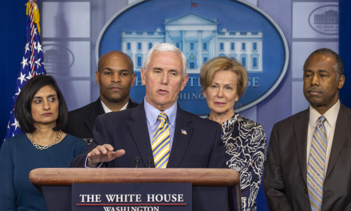 Vice President Mike Pence speaks at a White House press briefing in Washington, on March 14, 2020. (Tasos Katopodis/Getty Images)