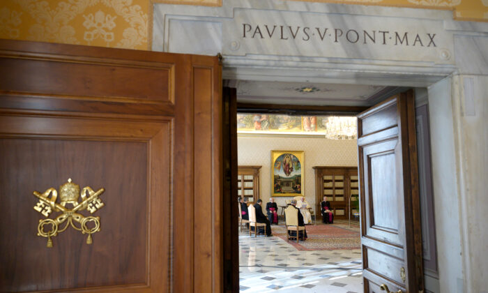 Pope holds his first ever virtual general audience, amid Italy's coronavirus epidemic, at the Vatican, on March 11, 2020.   (Vatican Media/Handout via Reuters)