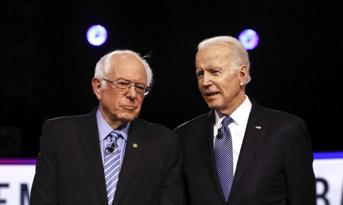 Democratic presidential candidates Sen. Bernie Sanders (I-Vt.), left, and former Vice President Joe Biden, participate in a Democratic presidential primary debate in Charleston, S.C., on Feb. 25, 2020. (Matt Rourke/AP Photo)