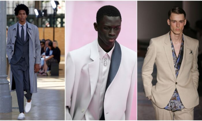 (L-R) Officine Generale, Dior Homme, Pat Zileri. (Thierry Chesnot/Getty Images, Francois Durand/Getty Images, Ernesto S. Ruscio/Getty Images)