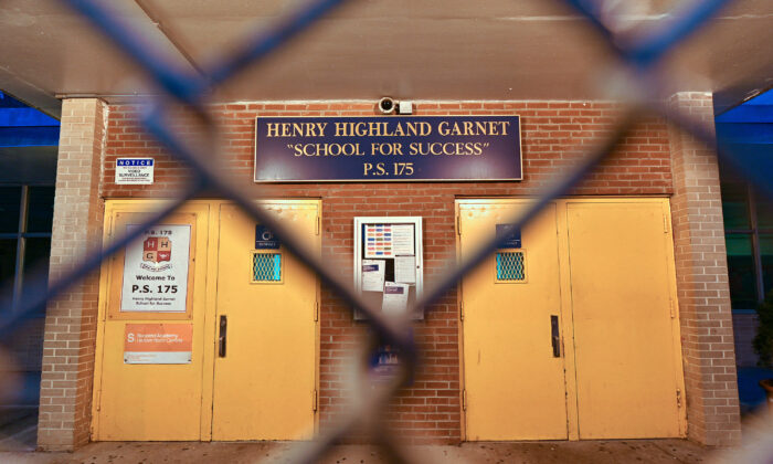 An exterior view of public school P.S. 175 Henry H Garnet in the Harlem neighborhood of Manhattan as the coronavirus continues to spread across the United States in New York City on March 14, 2020. (Dia Dipasupil/Getty Images)