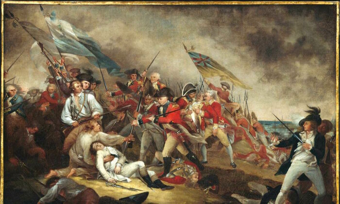"""As a lesson in the demands of revolution, Abigail Adams stood with her 7-year-old son Quincy Adams and watched the Battle of Bunker Hill. """"The Death of General Warren at the Battle of Bunker Hill,"""" 1786, by John Trumbull. Gift of Howland S. Warren, Museum of Fine Arts, Boston. (Public Domain)"""