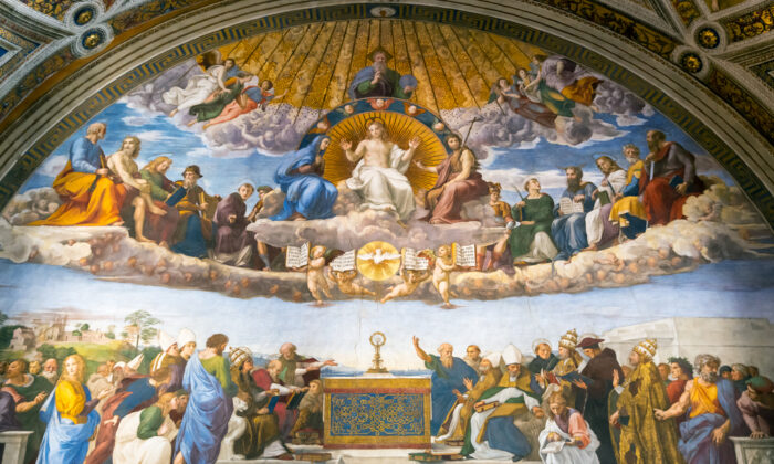 Goodness, truth, and beauty will triumph. The Renaissance fresco by Raphael in Stanze di Raffaello, Vatican Museum, Italy. Old Roman wall painting in former papal palace. (Viacheslav Lopatin/Shutterstock)