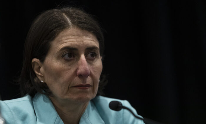 NSW Premier Gladys Berejiklian attends a press conference announcing that all mass gatherings of 500 people or more in Australia are cancelled from March 16, 2020. (Brook Mitchell/Getty Images)