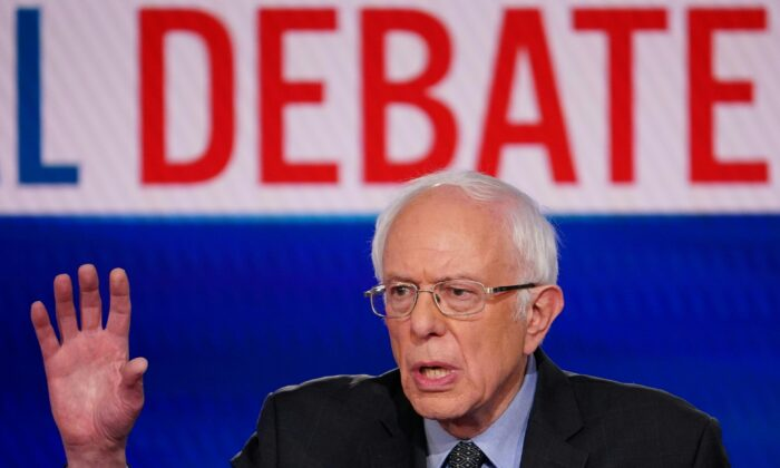 Democratic presidential hopeful Sen. Bernie Sanders makes a point as he and former Vice President Joe Biden take part in the 11th Democratic Party 2020 presidential debate in a CNN Washington Bureau studio in Washington, D.C., on March 15, 2020. (MANDEL NGAN/AFP via Getty Images)