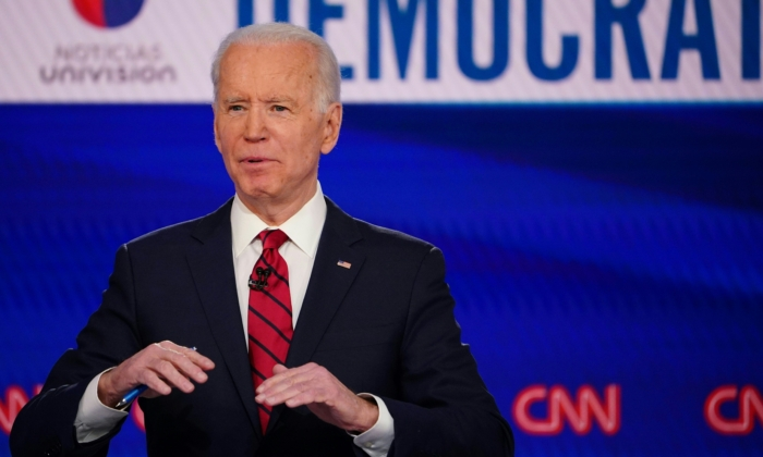 Democratic presidential hopeful former vice president Joe Biden makes a point as he and Senator Bernie Sanders take part in the 11th Democratic Party 2020 presidential debate in a CNN Washington Bureau studio in Washington, DC on March 15, 2020. (Mandel Ngan/AFP via Getty Images)