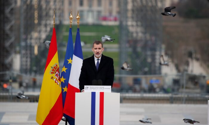 Spain's King Felipe VI delivers his speech during a ceremony to honor victims of terror attacks in Europe, on the 16th anniversary of Madrid attacks, at the Trocadero in Paris, France, on March 11, 2020. (Francois Mori/AP Photo)