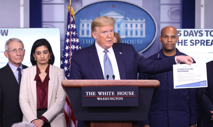 President Donald Trump flanked by members of the Coronavirus Task Force, speaks to the media in the press briefing room at the White House on March 16, 2020. (Win McNamee/Getty Images)