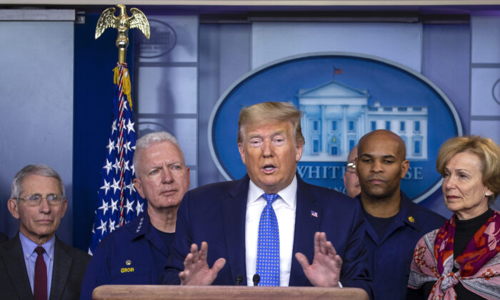 President Donald Trump speaks to the media in the press briefing room at the White House on March 15, 2020. (Tasos Katopodis/Getty Images)