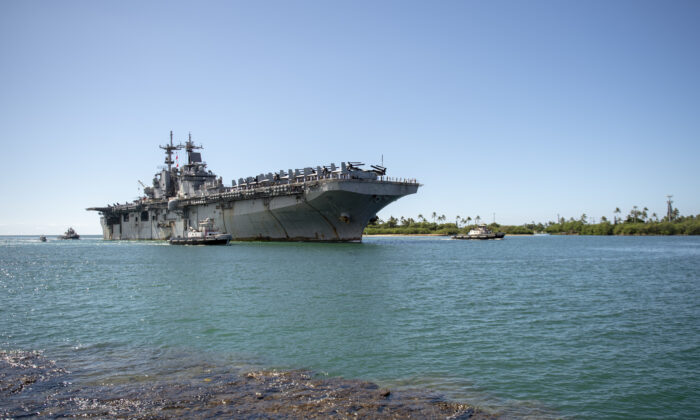 The amphibious assault ship USS Boxer (LHD 4) arrives at Joint Base Pearl Harbor-Hickam following a Western Pacific deployment on Nov. 13, 2019. (DoD/Mass Communication Specialist Seaman Aja B. Jackson)