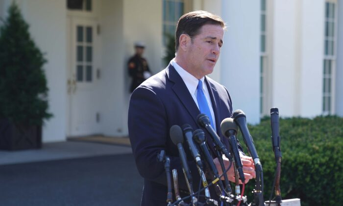 Arizona Governor Doug Ducey talks to reporters at the White House in Washington on April 3, 2019. (Chip Somodevilla/Getty Images)