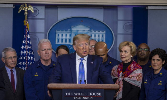 President Donald Trump speaks to the media in the press briefing room at the White House on March 15, 2020 in Washington. (Tasos Katopodis/Getty Images)