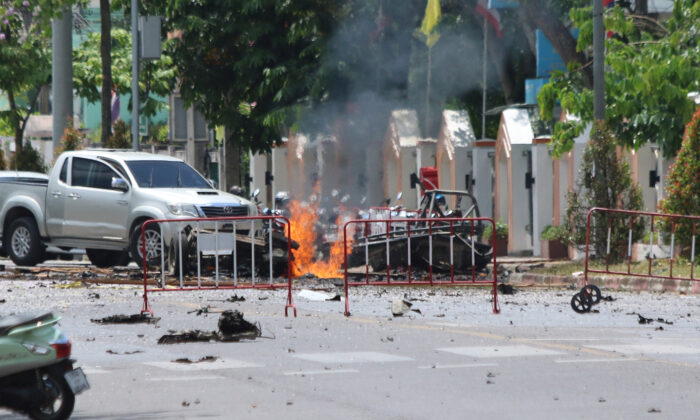 A car bomb in front of the government's Southern Border Provinces Administrative Center in Yala, Thailand, on March 17, 2020. (Surapan Boonthanom/Reuters)