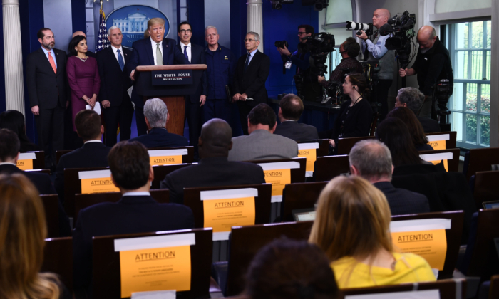 President Donald Trump opens the daily press briefing on the coronavirus pandemic situation at the White House in Washington on March 17, 2020. (Brendan Smialowski/AFP via Getty Images)
