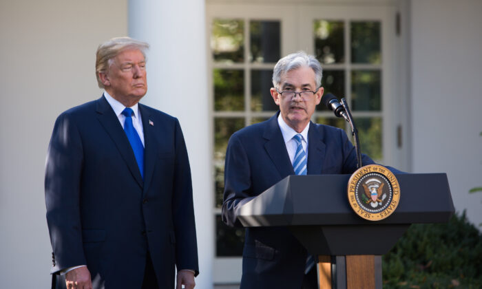 File photo showing President Donald Trump and Fed Chairman Jerome Powell at the White House in Washington on Nov. 2, 2017. (Samira Bouaou/ The Epoch Times)