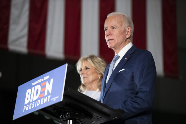 Democratic presidential candidate former Vice President Joe Biden, accompanied by his wife Jill, speaks to members of the press