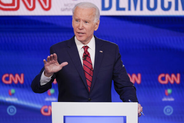 Former Vice President Joe Biden, participates in a Democratic presidential primary debate