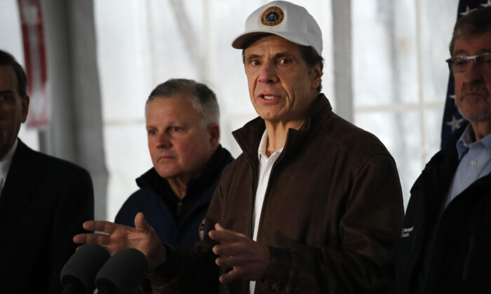 New York Governor Andrew Cuomo speaks to the media and tours a newly opened drive through COVID-19 mobile testing center in New Rochelle, New York on March 13, 2020. (Spencer Platt/Getty Images)