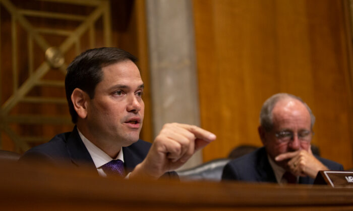 U.S. Sen. Marco Rubio (R-FL) questions Kelly Craft, President Trump's nominee to be Representative to the United Nations, during her nomination hearing before the Senate Foreign Relations Committee in Washington, on June 19, 2019. (Stefani Reynolds/Getty Images)
