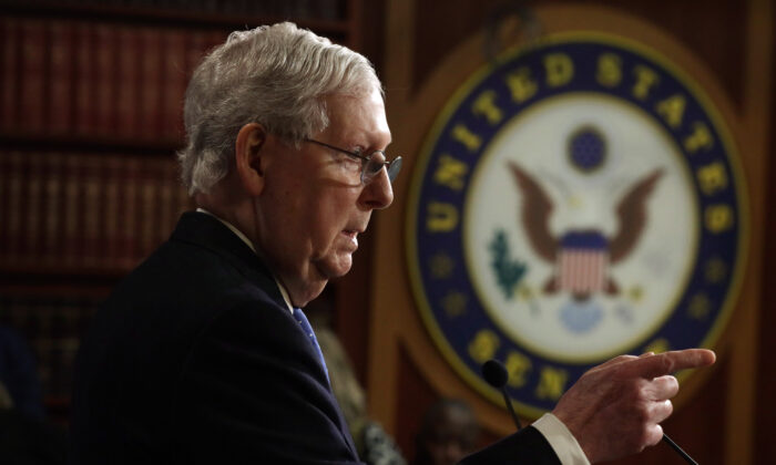 Senate Majority Leader Sen. Mitch McConnell (R-KY) speaks to members of the media during a news conference at the U.S. Capitol in Washington on March 17, 2020. (Alex Wong/Getty Images)