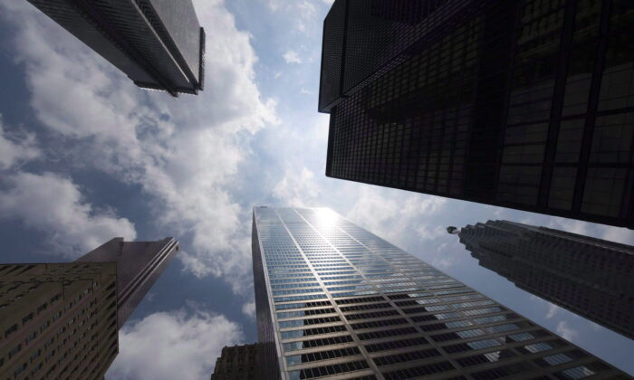 Bank towers in Toronto's financial district in a file photo. (The Canadian Press/Adrien Veczan)