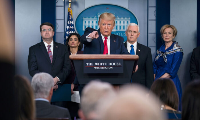 President Donald Trump speaks during press briefing with the coronavirus task force, at the White House in Washington on March 18, 2020, as Veterans Affairs Secretary Robert Wilkie, Administrator of the Centers for Medicare and Medicaid Services Seema Verma, Vice President Mike Pence and Dr. Deborah Birx, White House coronavirus response coordinator, listen (Evan Vucci/AP Photo)