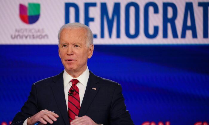 Democratic presidential hopeful former Vice President Joe Biden makes a point as he and Sen. Bernie Sanders (I-Vt.) take part in the 11th Democratic Party 2020 presidential debate in a CNN Washington Bureau studio in Washington on March 15, 2020. (Mandel Ngan/AFP via Getty Images)