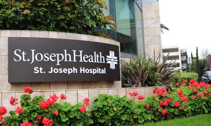 St. Joseph Hospital, where some COVID-19 patients are being treated, in Orange, Calif. (Jamie Joseph/The Epoch Times)