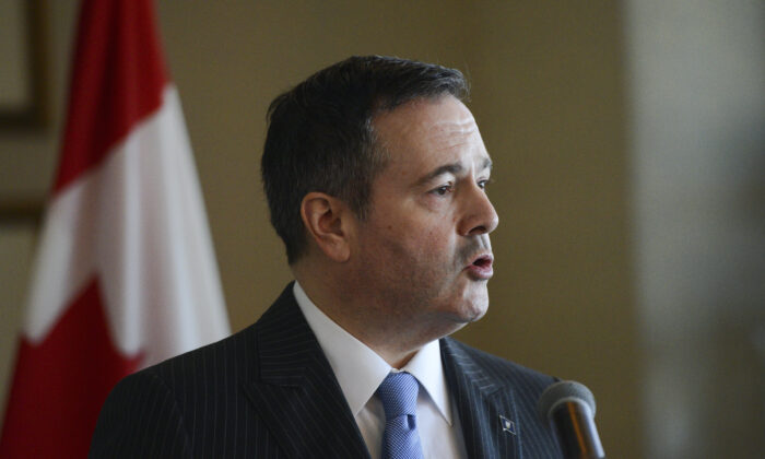 Alberta Premier Jason Kenney speaks at the Rideau Club in Ottawa on March 12, 2020. (The Canadian Press/Sean Kilpatrick)