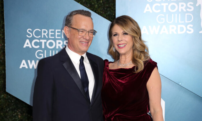 Tom Hanks (L) and Rita Wilson attend 26th Annual Screen Actors Guild Awards at The Shrine Auditorium in Los Angeles, Calif., on Jan. 19, 2020. (Leon Bennett/Getty Images)