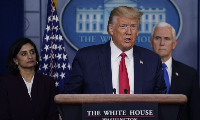 President Donald Trump speaks to the press at the White House in Washington on March 18, 2020. (Evan Vucci/AP Photo)