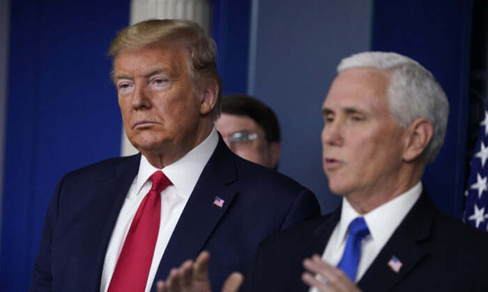 President Donald Trump listens as Vice President Mike Pence speaks during press briefing with the Coronavirus Task Force at the White House in Washington on March 18, 2020. (Evan Vucci/AP Photo)