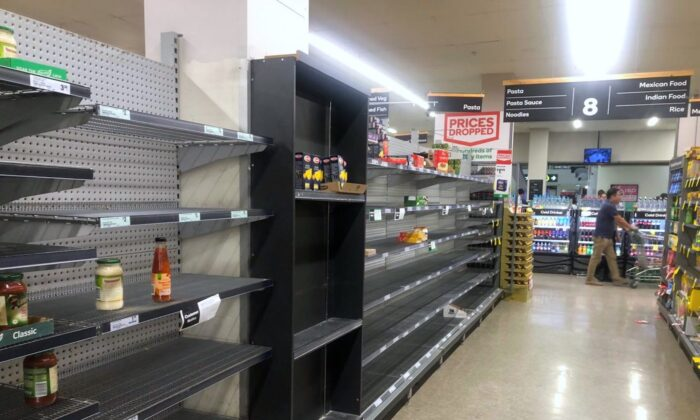 Empty pasta shelves at a supermarket in Burwood, Sydney, Australia on March 17, 2020. (Mimi Nguyen Ly/The Epoch Times)