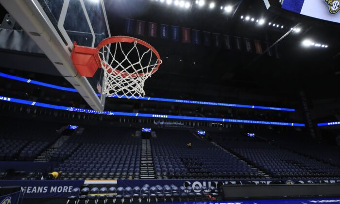 The basket and the arena sit unused after the announcement of the cancellation of the SEC Basketball Tournament at Bridgestone Arena on March 12, 2020 in Nashville, Tenn.  (Andy Lyons/Getty Images)