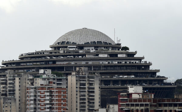 "View of the Bolivarian National Intelligence Service (SEBIN) headquarters, known as ""El Helicoide"", in Caracas, on May 9, 2019. (STR/AFP via Getty Images)"