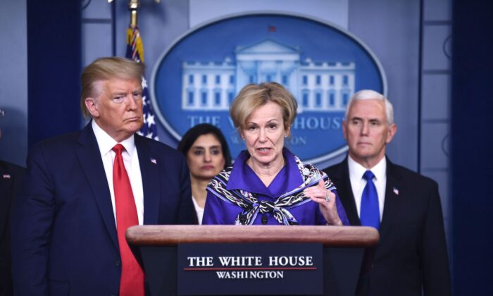 White House Coronavirus Task Force Coordinator Dr. Deborah Birx answers a question during  the daily briefing on the CCP virus at the White House in Washington on March 18, 2020. (Brendan Smialowski/AFP via Getty Images)