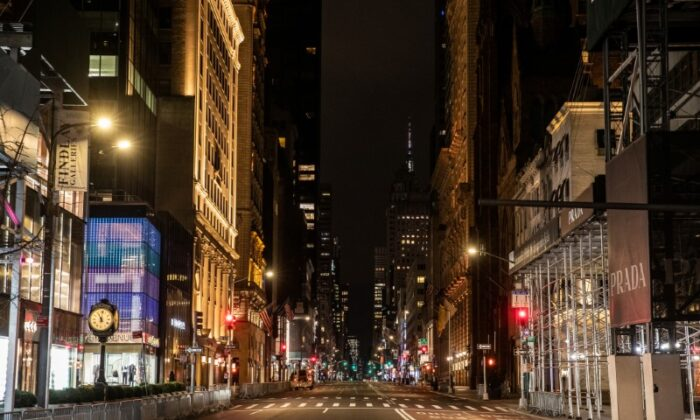 An empty 5th avenue is seen following the outbreak of the coronavirus disease (COVID-19), in New York City on March 18, 2020. (Jeenah Moon/Reuters)