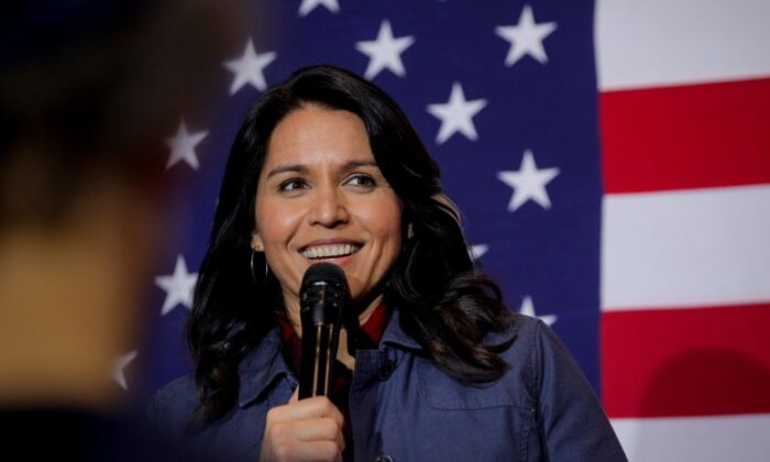 Democratic presidential candidate Rep. Tulsi Gabbard (D-Hawaii) speaks during a campaign event in Lebanon, New Hampshire on February 6, 2020. (Brendan McDermid/Reuters)