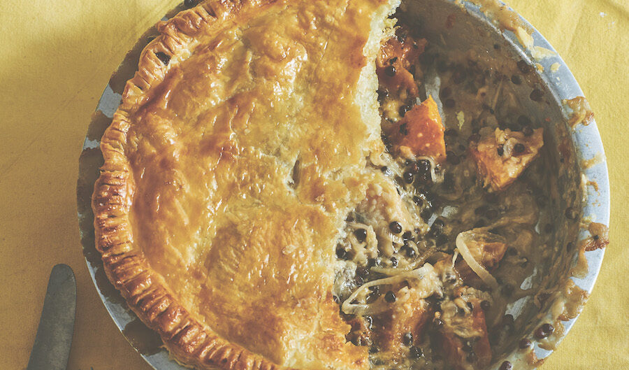 lentil, cheese, and onion puff pie