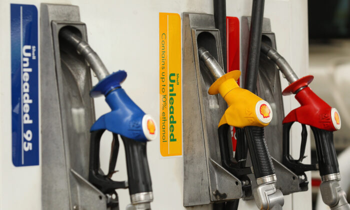 A fuel bowser is seen with different petrol types on Feb. 29, 2012 in Sydney, Australia. (Cameron Spencer/Getty Images)