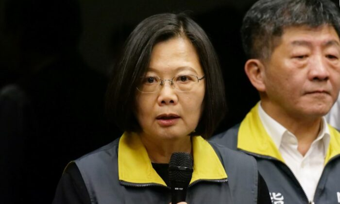 Taiwan President Tsai Ing-wen speaks about the coronavirus situation in Taiwan, during a news conference at the Centers for Disease Control in Taipei, Taiwan, on Feb. 7, 2020. (Fabian Hamacher/Reuters)