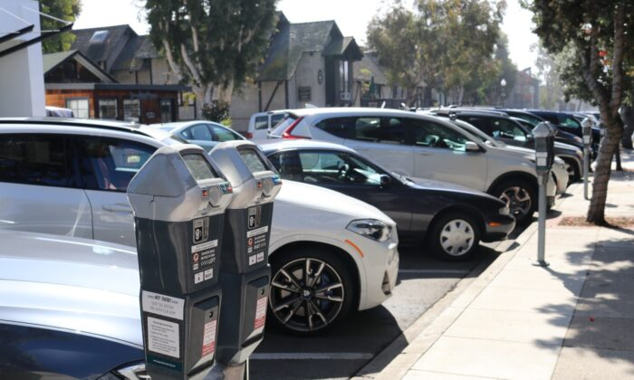 Metered parking in downtown Laguna Beach, Calif. (Jamie Joseph/The Epoch Times)