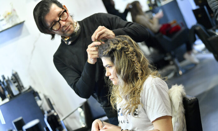A woman gets her hair styled in New York City on Feb. 11, 2020. (Roy Rochlin/Getty Images)