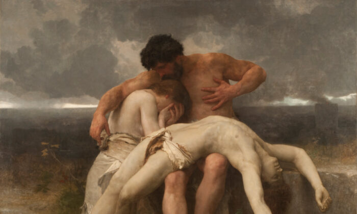 """The First Mourning"" 1888, by William Bouguereau. Oil on Canvas; 79 ¾ inches by 99 inches. National Museum of Fine Arts, Argentina. (Public Domain)"
