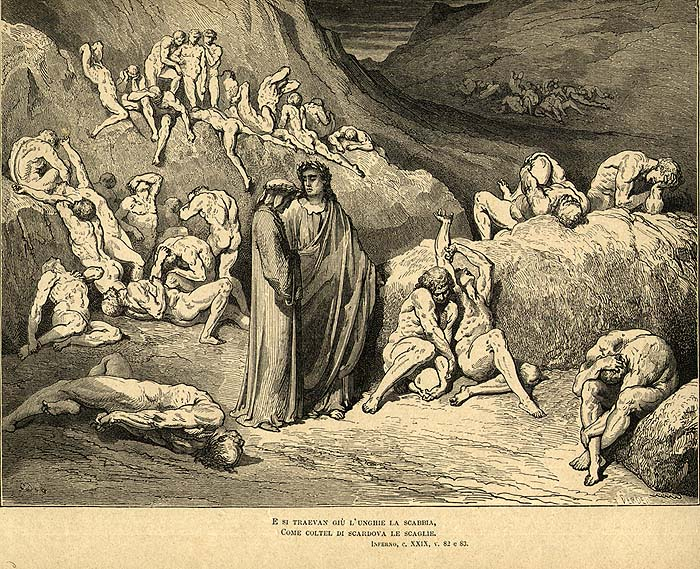 """An illustration of Canto 29 from Dante's """"Inferno"""" by Gustave Dorè"""
