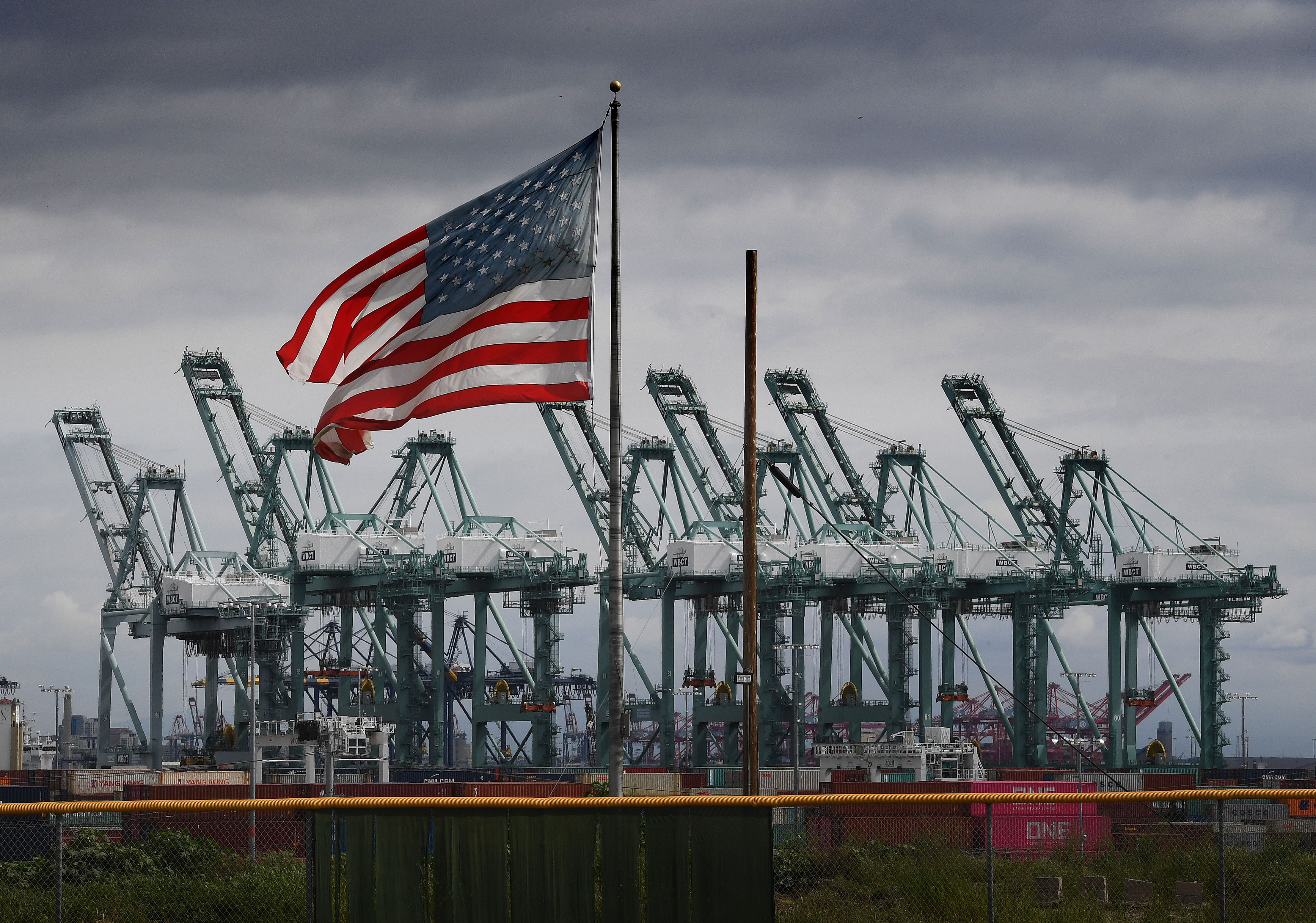 The US flag flies